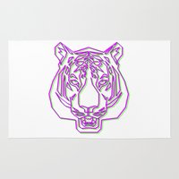 rave Area & Throw Rugs featuring Tiger Rave by James Thornton