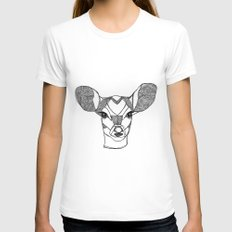 Monochrome Deer by Ashley Rose Womens Fitted Tee SMALL White