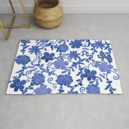 Floral China Blue Watercolor Pattern Rug