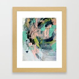 Connect [4] : a vibrant acrylic abstract in neon green, blues, pinks, & hints of orange Framed Art Print