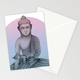 Buddha with cat1 Stationery Cards
