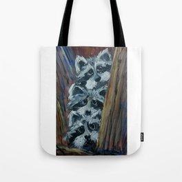 Raccoon Triplets Tote Bag