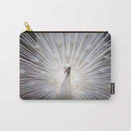 Elegant white peacock vintage style photo of a rare albino peacock bird nature photograph Carry-All Pouch