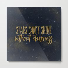 Stars- Darkness - sparkling gold glitter night typography 1 Metal Print