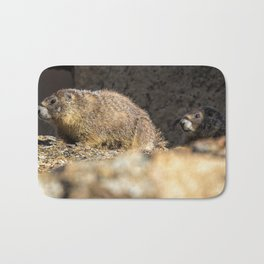 Two Marmots At Smith Rock Bath Mat