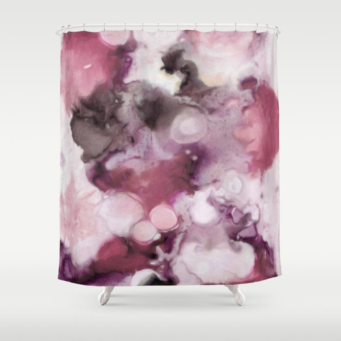 Organic Abstract In Shades Of Plum Shower Curtain