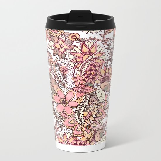 Boho chic red brown floral hand drawn pattern Metal Travel Mug