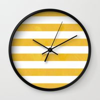 striped Wall Clocks featuring Striped by TT Smith