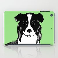 border collie iPad Cases featuring Border Collie Printmaking Art by Artist Abigail