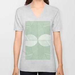 Minimal Tropical Leaves Pastel Green Unisex V-Neck