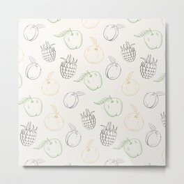 Cute and nice fruits and berry with raspberry, apple and plum Metal Print