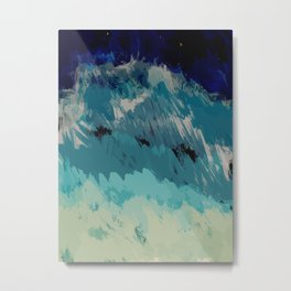 Painting of the wave at the night in a abstract and expressionist way Metal Print
