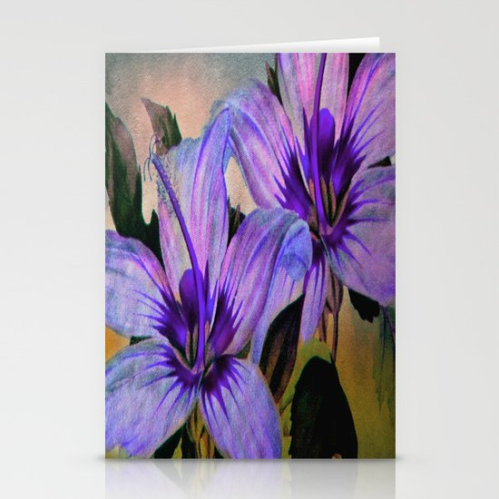 Vintage Painted Lavender Lily Stationery Cards