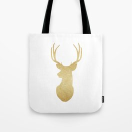 Gold Glitter Reindeer Tote Bag