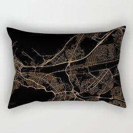Black and gold Cape Town map Rectangular Pillow