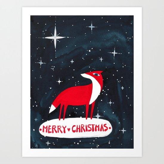 Merry Christmas! - Fox and stars Art Print