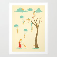 Invasion of the Tiny Giraffes Art Print