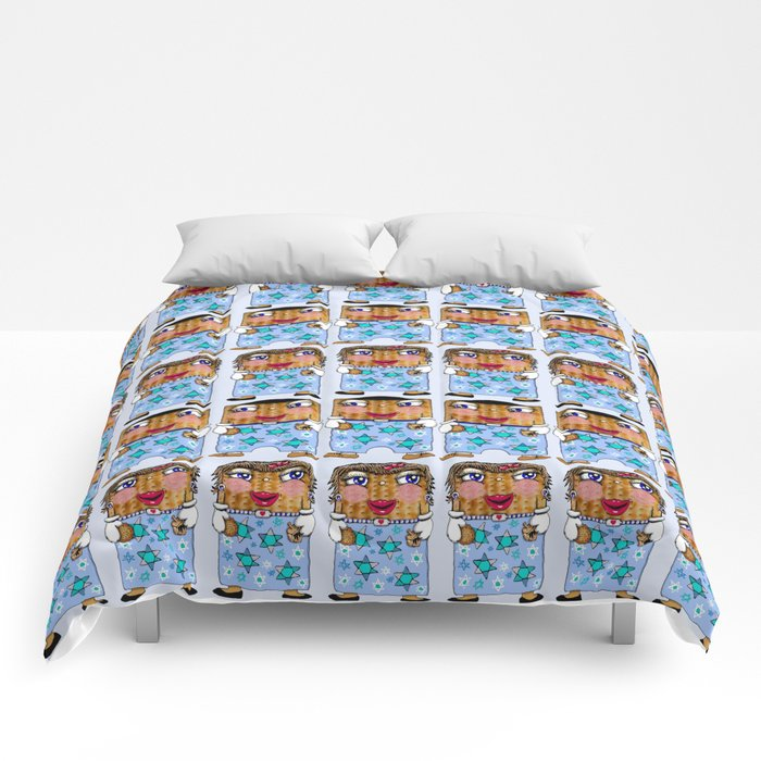 Matzo Boy and Matzo Girl together for Hanukkah! Comforters