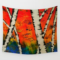birch Wall Tapestries featuring Orange Birch  by BeachStudio