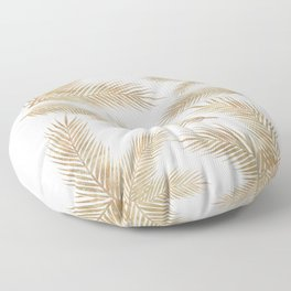 Rose Gold Glitter Marble Troipcal Leaves Floor Pillow