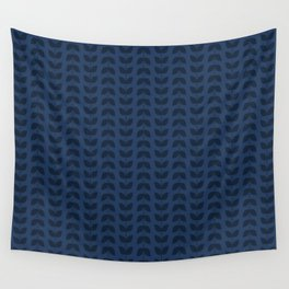 Navy Peony Leaves Wall Tapestry