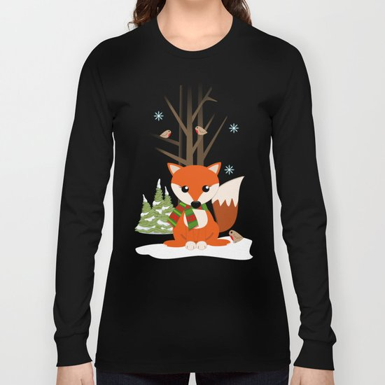 Cute winter fox with a red / green scarf, Long Sleeve T-shirt