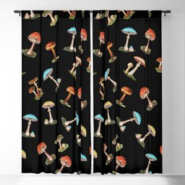 Electric Neon Mushrooms Blackout Curtain