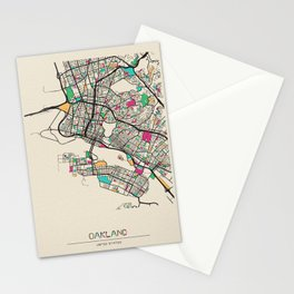 Colorful City Maps: Oakland, California Stationery Cards