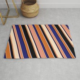 Eyecatching Bisque, Chocolate, Dark Salmon, Black & Midnight Blue Colored Stripes/Lines Pattern Rug