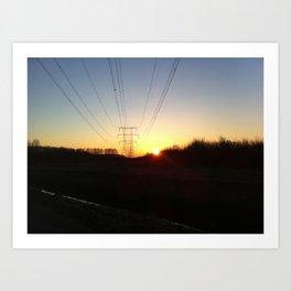 Pylon at sunrise Art Print