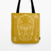 c3po Tote Bags featuring C3PO by Jon Deviny