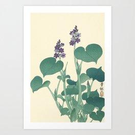 Ohara Koson Japanese Woodcut with Flowers Art Print