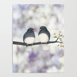 dark eyed juncos (bokeh and blossoms) Poster