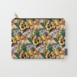 Aesthetic Pansies Watercolor Illustration Carry-All Pouch