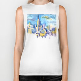 blue icing, print or original watercolor painting by Jessie Novik from rooftop view overlooking NYC Biker Tank