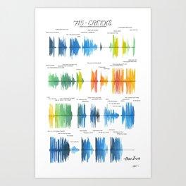 715 - CREEKS Bon Iver Sound file/Lyrics Art Art Print
