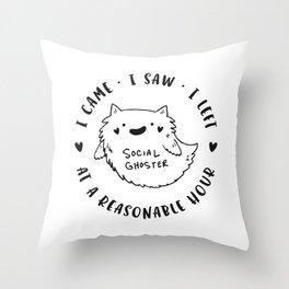 Social Ghoster Throw Pillow