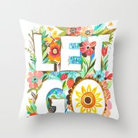 let it go Throw Pillows featuring Let Go by Katie Daisy