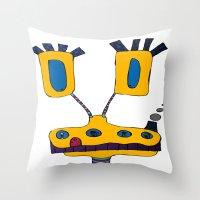 yellow submarine Throw Pillows featuring yellow submarine giraffe by JBLITTLEMONSTERS