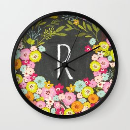 R botanical monogram. Letter initial with colorful flowers on a chalkboard background Wall Clock