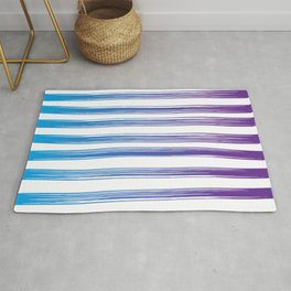 Drawn Lines Blue to Purple Ombre Rug