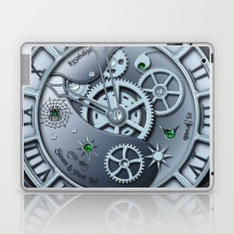 Steampunk clock silver Laptop & iPad Skin