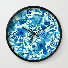 blue pretty flowers  https://society6.com/clemm?promo=X9B3VVZDM7J6 Wall Clock