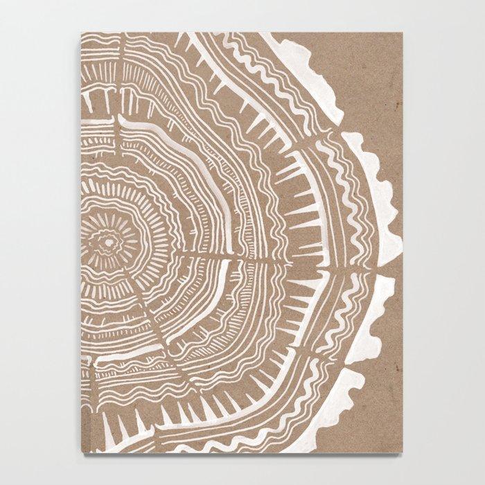 Tree Rings – White Ink on Kraft Notebook