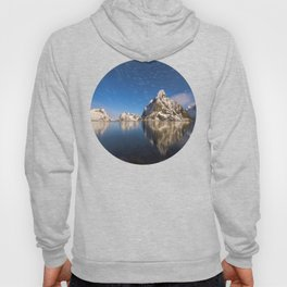 Mid Century Modern Round Circle Photo Graphic Design Swirling Star Sky Above Mountains Hoody