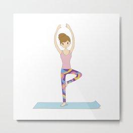 Yoga Girl in Tree Pose illustration Metal Print