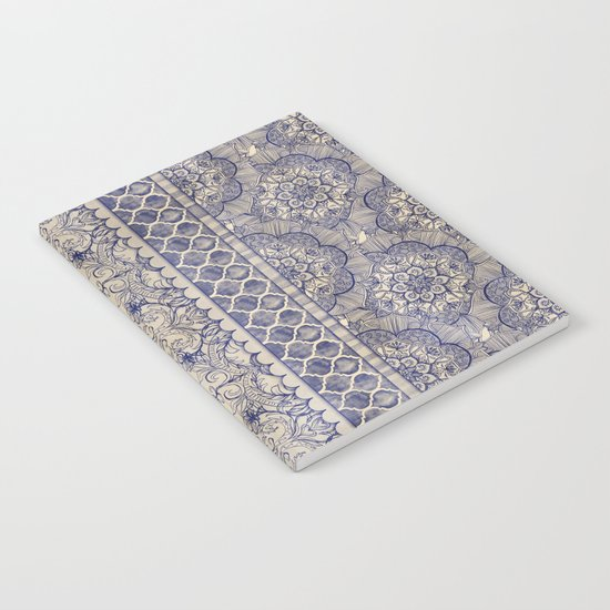 Vintage Wallpaper - hand drawn patterns in navy blue & cream Notebook