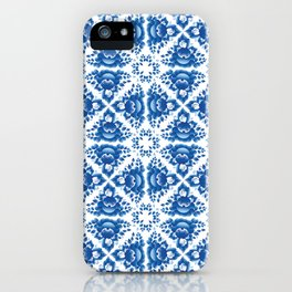 Vintage shabby Chic Seamless pattern with blue flowers and leaves iPhone Case