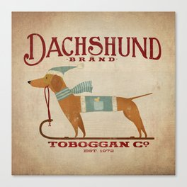 Dachshund Toboggan Co Canvas Print