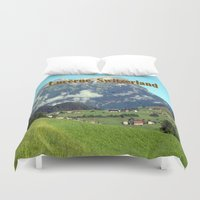 switzerland Duvet Covers featuring Green countryside of Lucerne Switzerland by Celeste Sheffey of Khoncepts